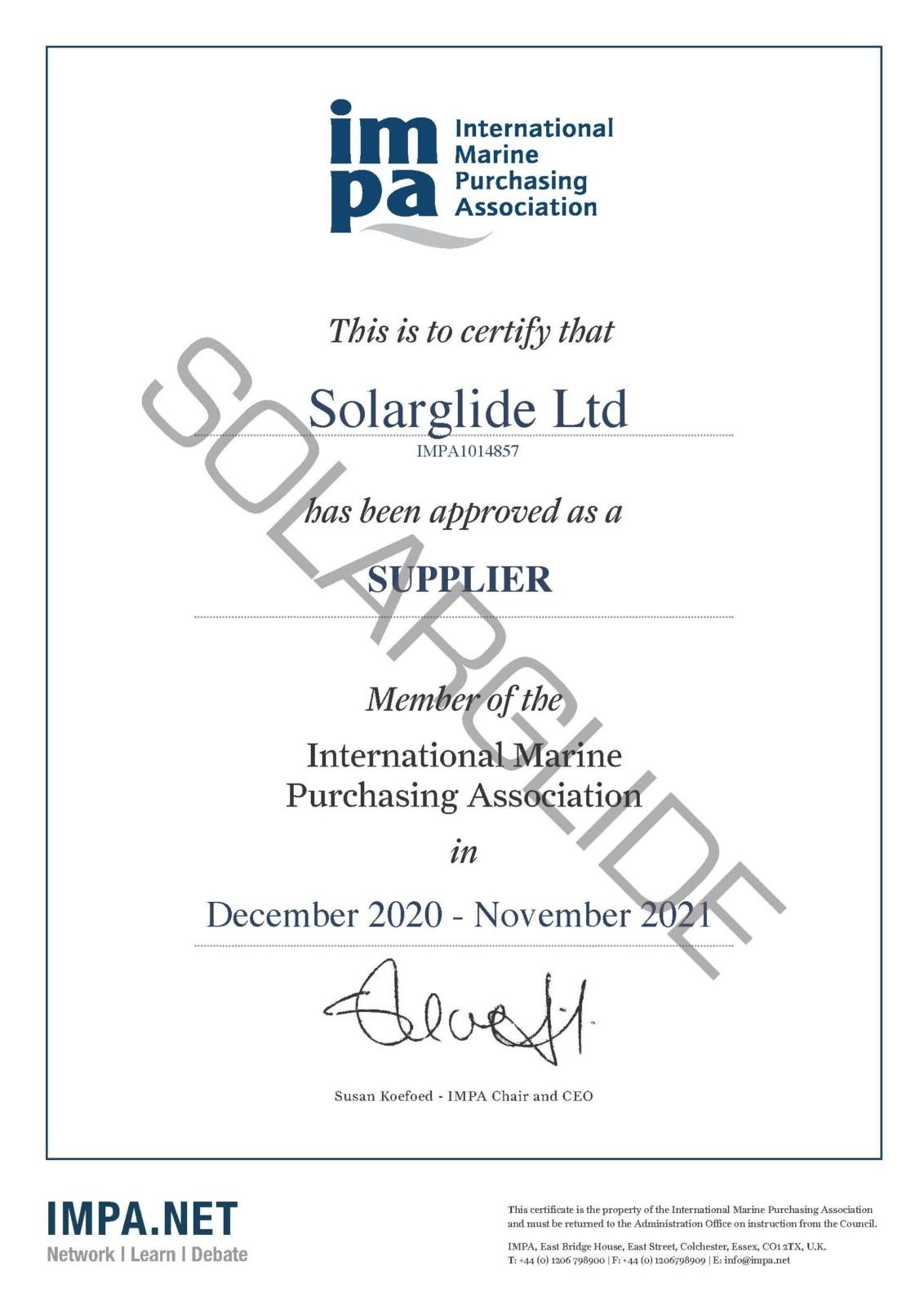 Solarglide IMPA Certificate
