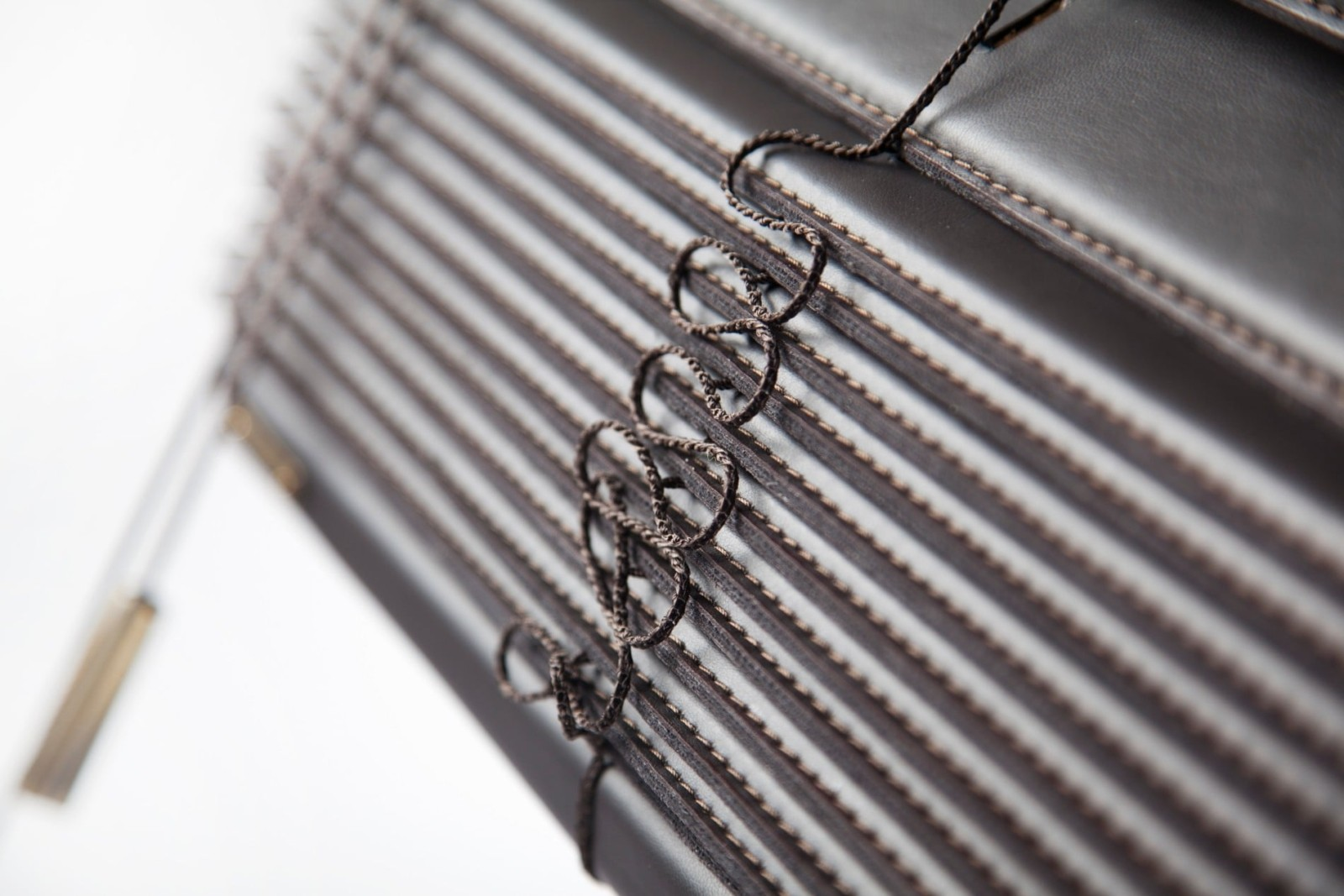 Solarglide Faux Leather Ventian Blinds close up